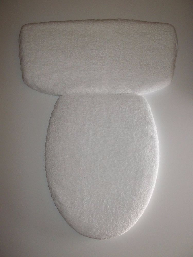 Bathroom Terry Cloth Toilet Seat Lid Cover And Tank Set White