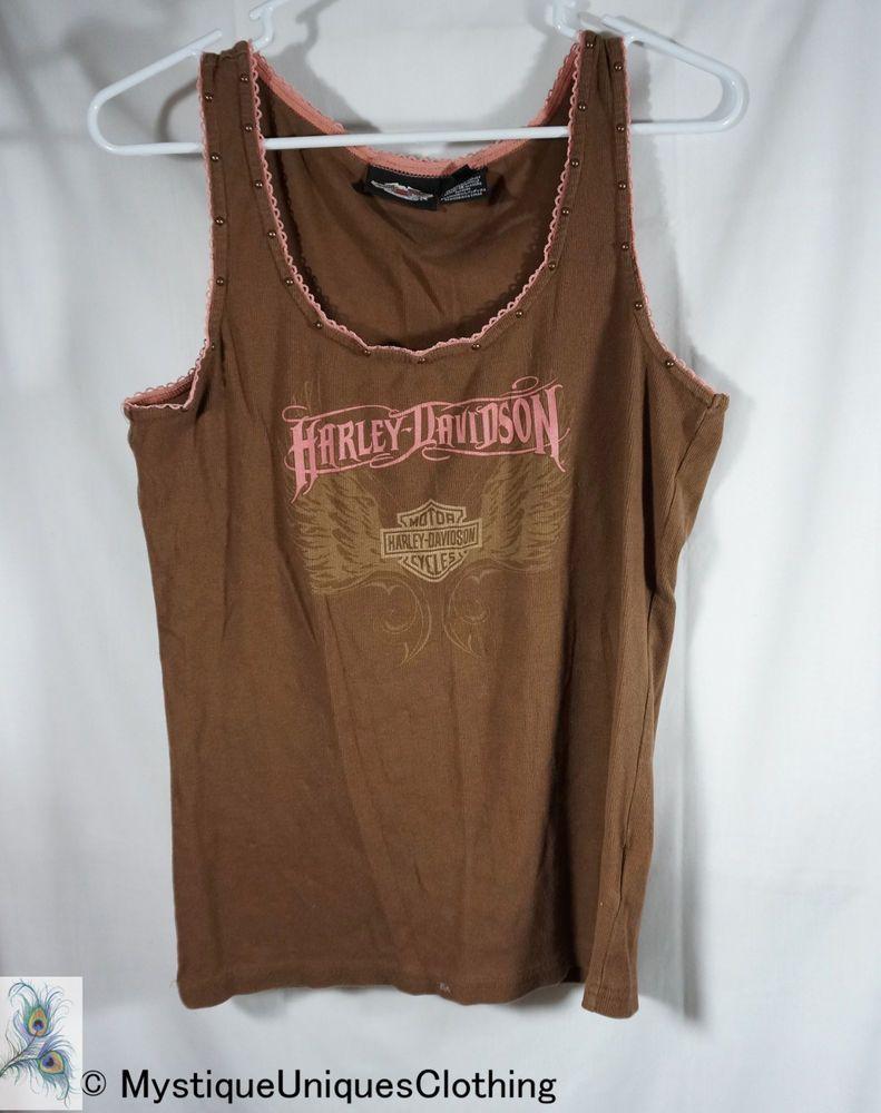 28ac862b3a1 Harley Davidson Womens Tank Top Plus Size 1X Brown Pink Embellished