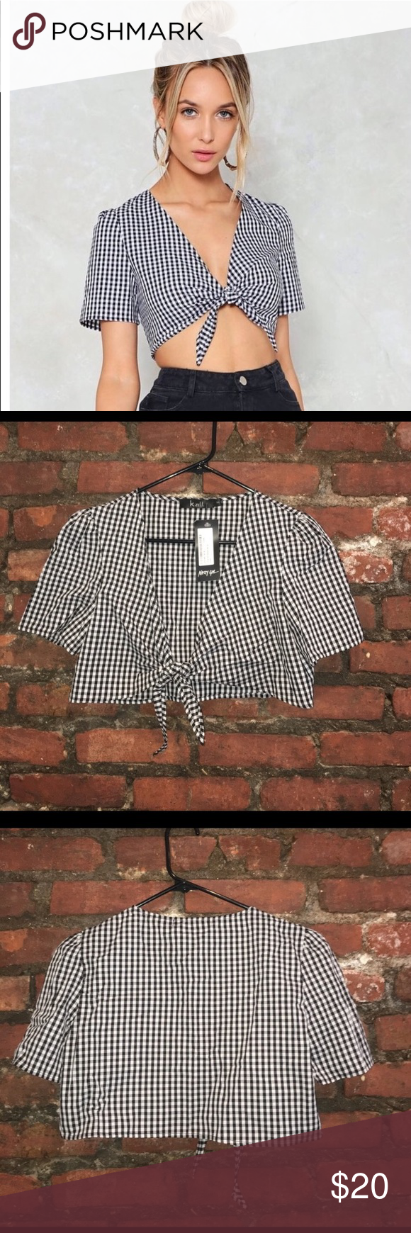 8e1a0c1ee23d0c Nasty Gal Off the Grid Gingham Crop Top NWT, Tie closure at front. Super  cute just too small for me ( Because I normally wear a medium not because  it runs ...