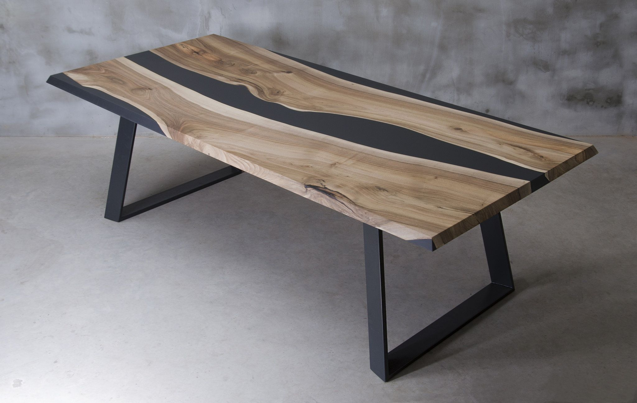 Live Edge Dining Table Epoxy Resin Table Epoxy Walnut Table River Black Matte Table River Table Black Resin Table Live Edge Dining Table Dining Furniture