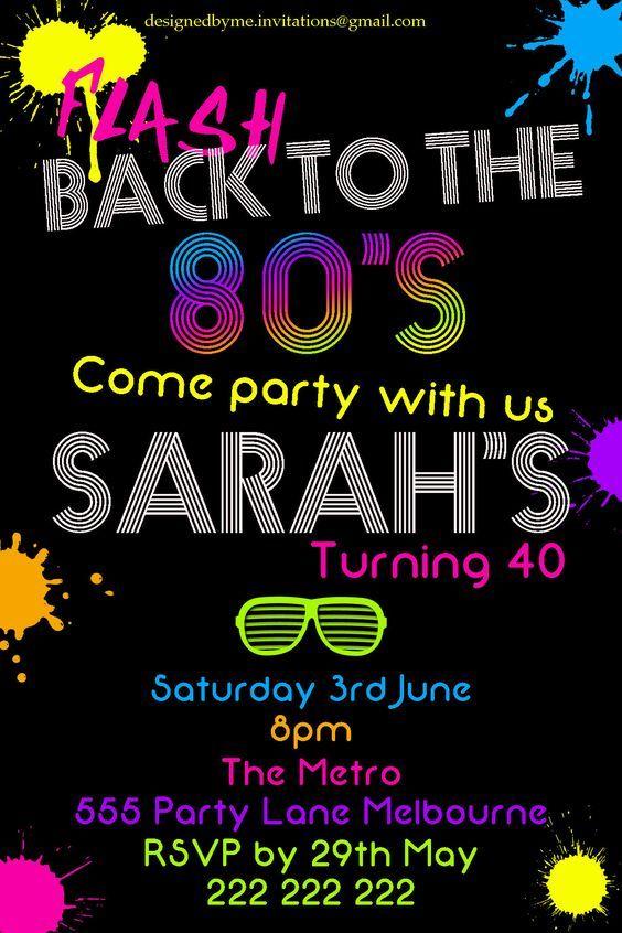 80 s neon birthday fancy dress party invitation diy printing