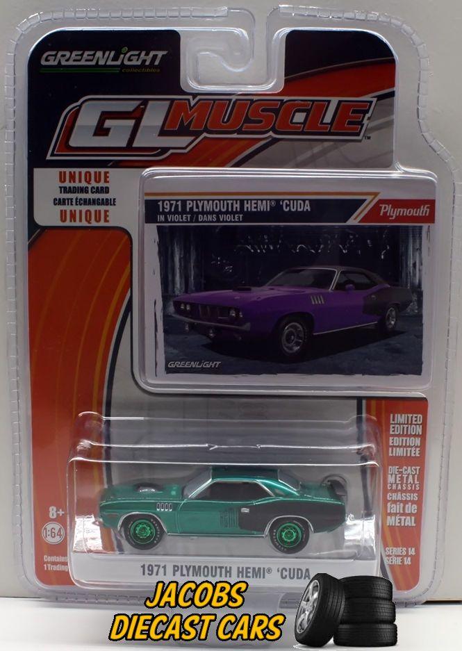1:64 Greenlight Muscle Series 14 * 1971 PLYMOUTH HEMI \'CUDA GREEN ...
