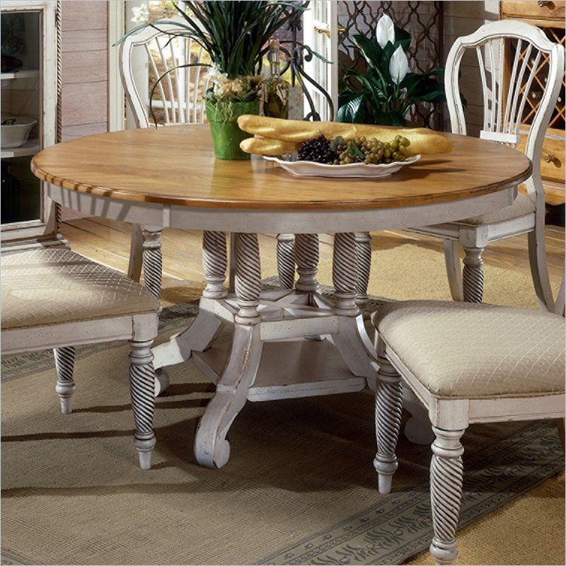 Hillsdale Wilshire Antique White Round Dining Table 949 00 White Round Dining Table Round Dining Table Sets White Kitchen Table
