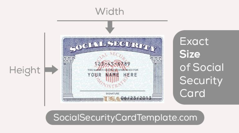What S The Size Of A Standard Ssn Card Usa Social Security Card Card Template Money Template
