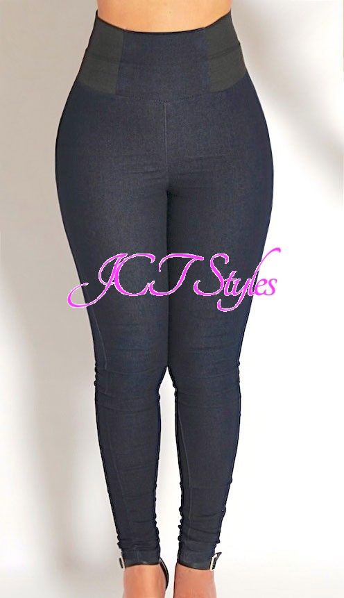 ad15a9f3942 High Waisted Stretch Jean Style Pants (PLUS AVAILABLE) - Exposed Elastic  Side Waistband High Rise Skinny. Find this Pin and more on ...