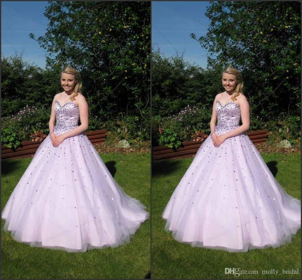 Cute lavender quinceanera dresses real image ball gown crystal