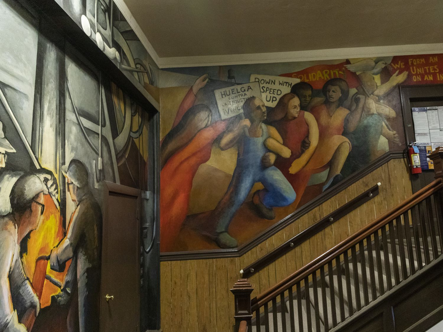 "Part of the ""Solidarity"" mural inside the United"