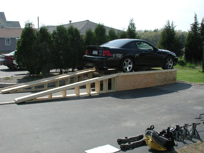 Check Out This Home Made All Wood Car Lift The Garage Journal