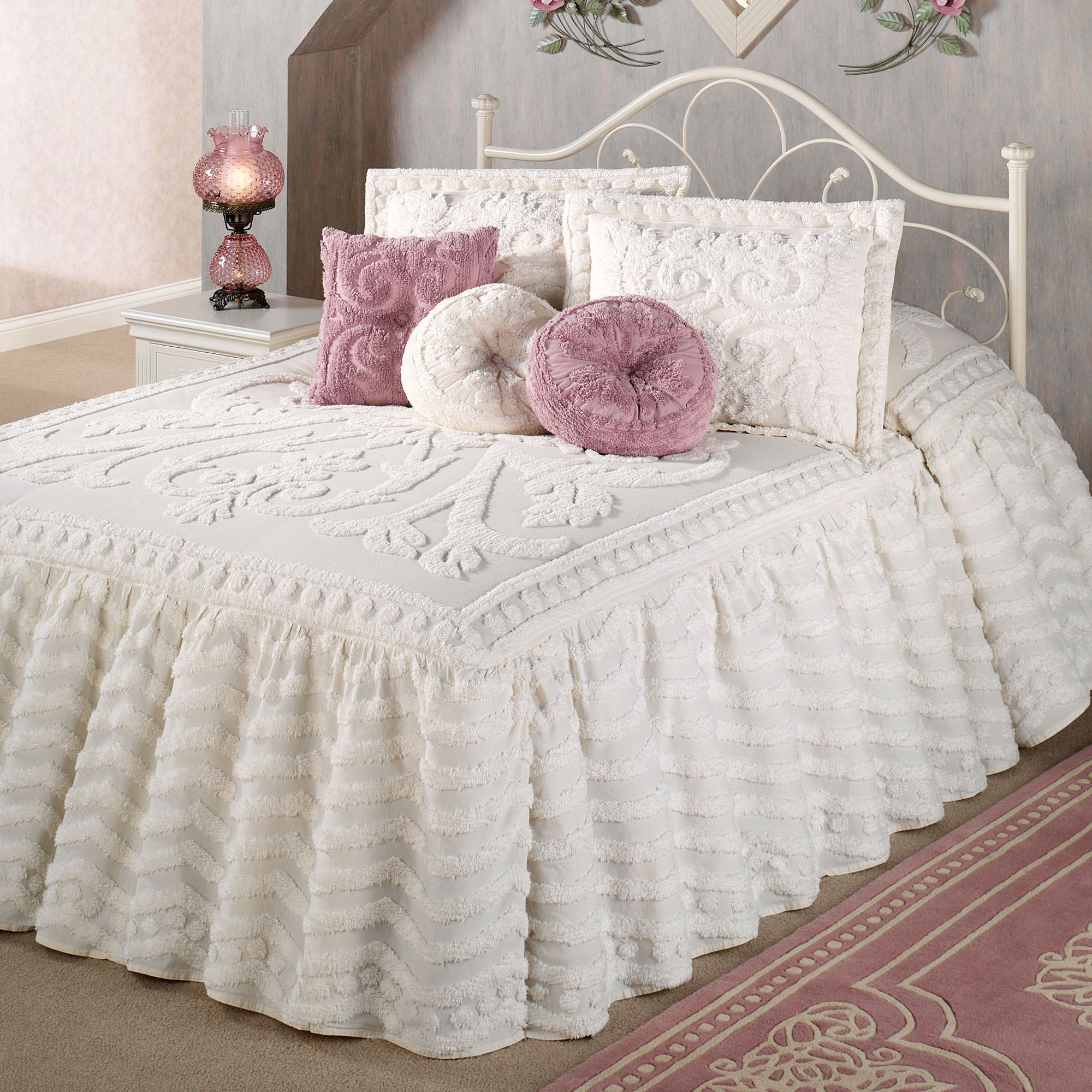 Intrigue chenille ruffled flounce touch of class
