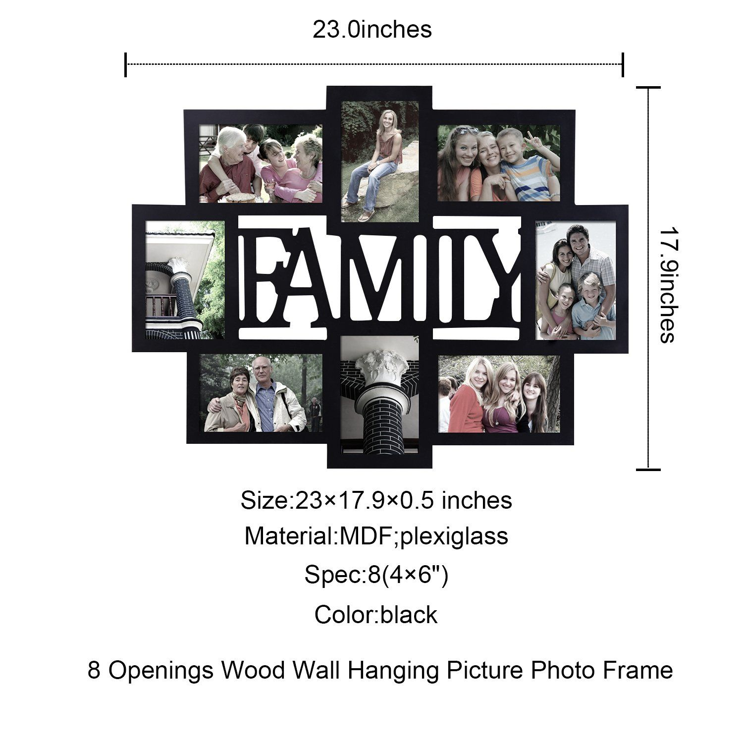 a65e1ca44aa Adeco PF0432 Black Wood Family Wall Hanging Collage Photo Frame 8 Openings  4 by 6 Inch