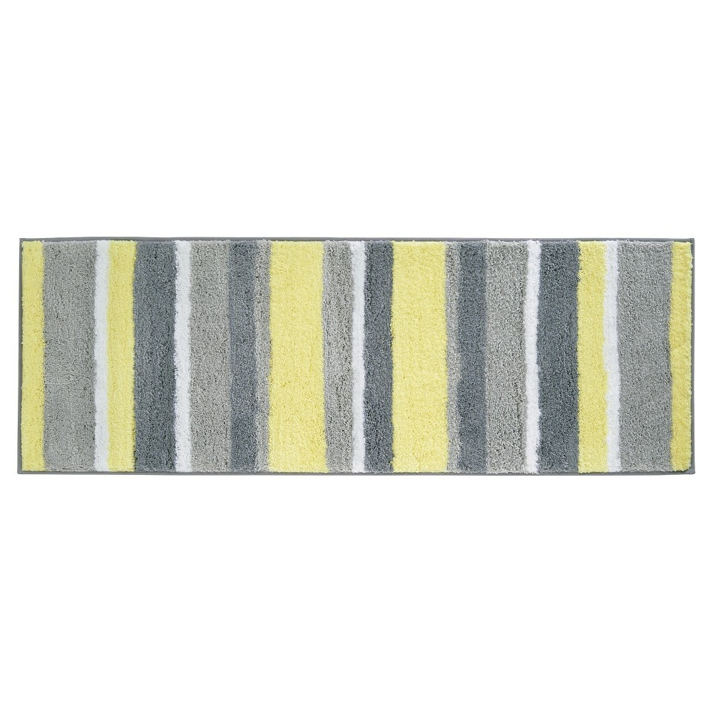 Stripe Bath Rug 60 X21 Gray Yellow Idesign In 2019
