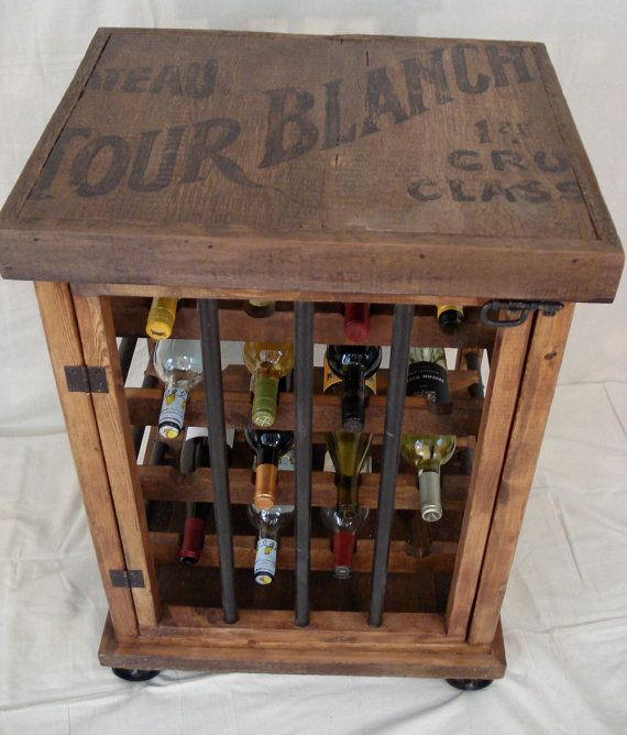 Rustic Wine Bottle Cabinet Etsy In 2020 Rustic Wine Bottle Vintage Wine Rack Rustic Wine Cabinet