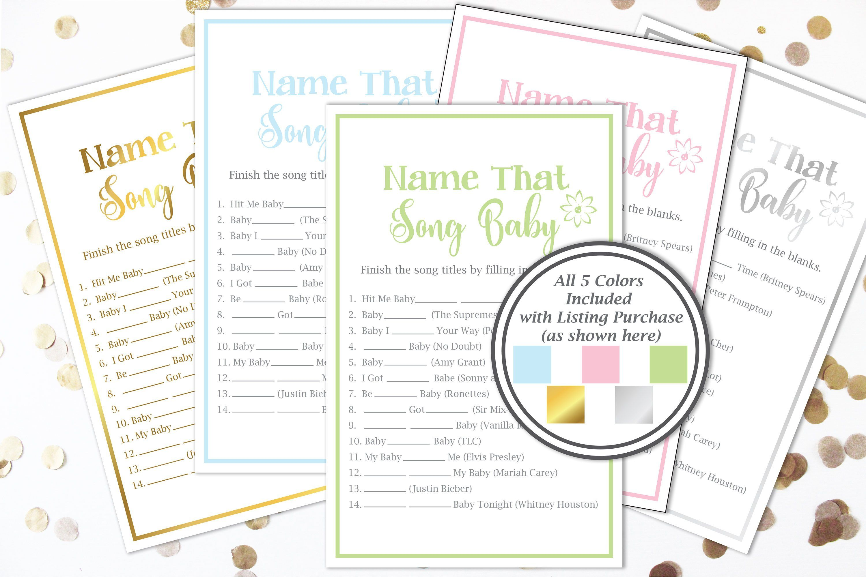 Name That Song Baby Game Baby Shower Song Game Flower