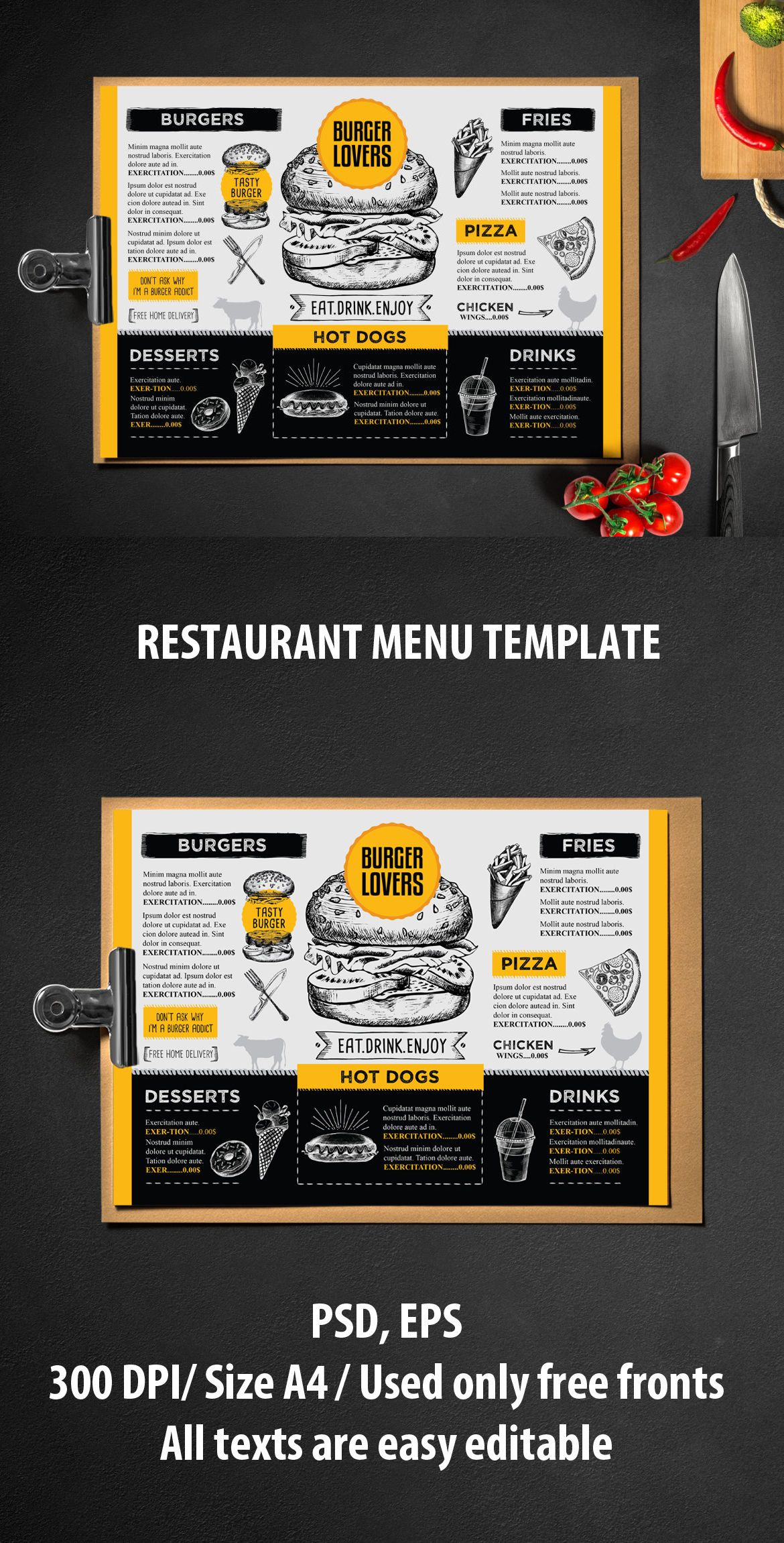 Burger Menu Template Vector Eps Psd Best Food Menu Templates