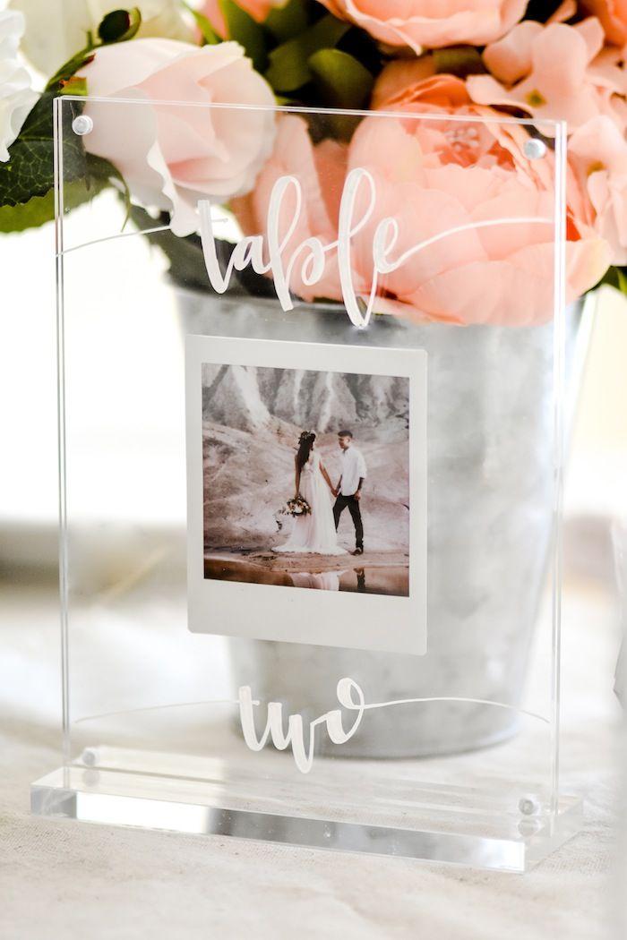 Modern Acrylic Wedding Photo Centerpiece or Table