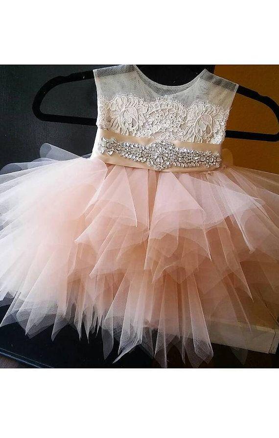 14b634e4843 Blush  Tiffany  flower girl dress  tutu rhinestone by somsicouture