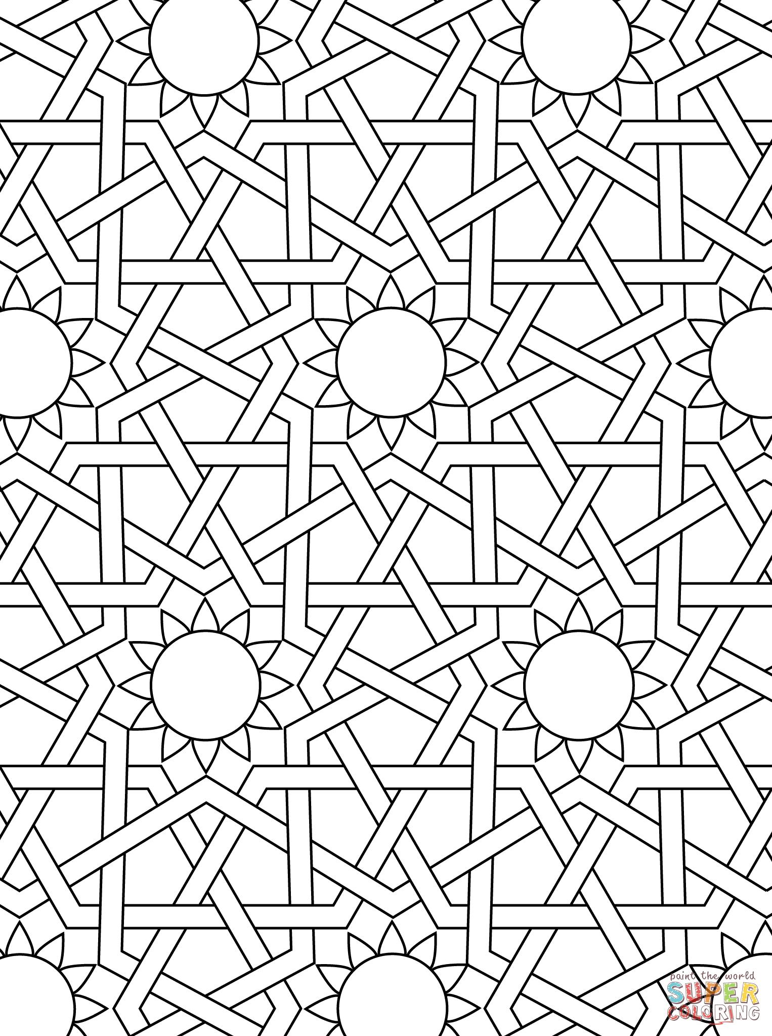 Islamic Ornament Mosaic Super Coloring Geometric Coloring Pages Islamic Patterns Islamic Mosaic