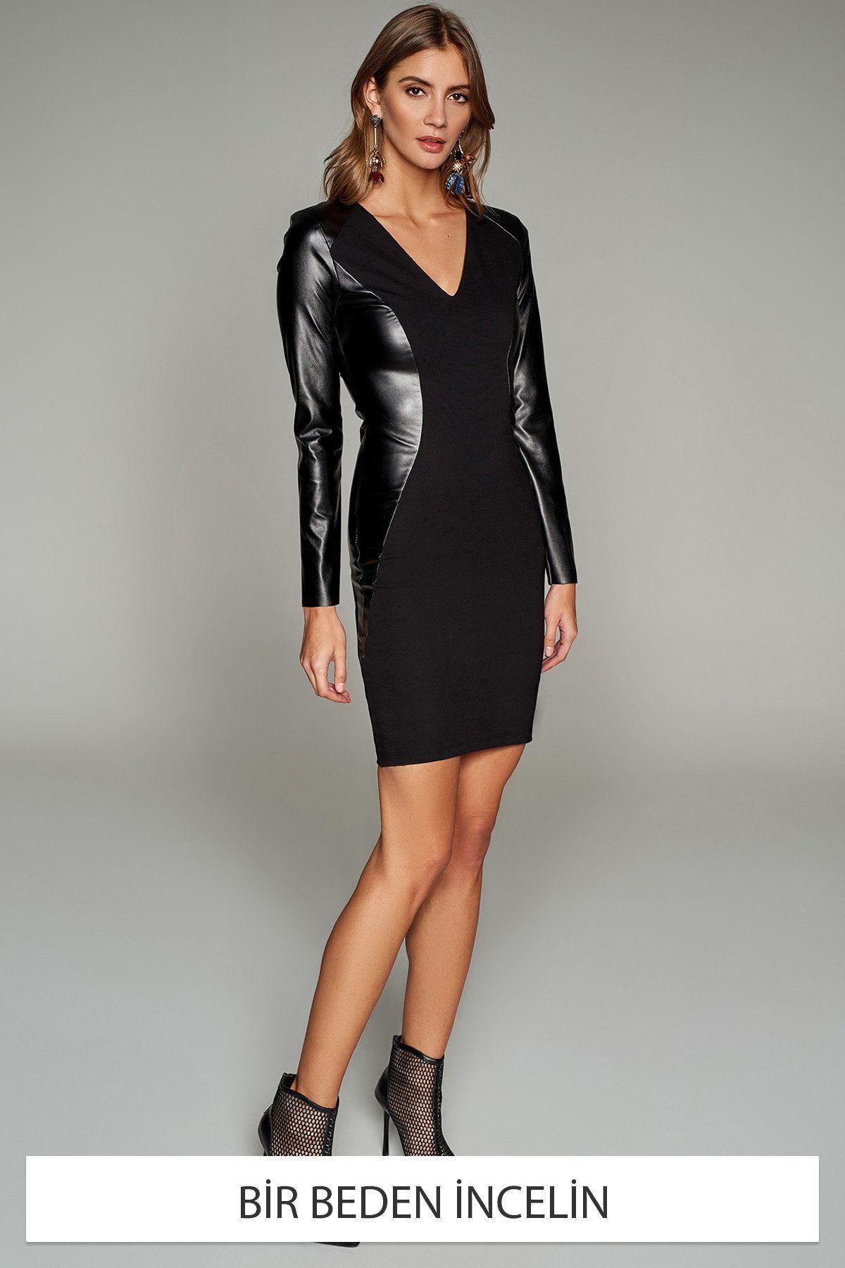 Siyah Deri Detayli Incelten Elbise Trendyolmilla Trendyol Elbise Siyah Deri Elbise Modelleri