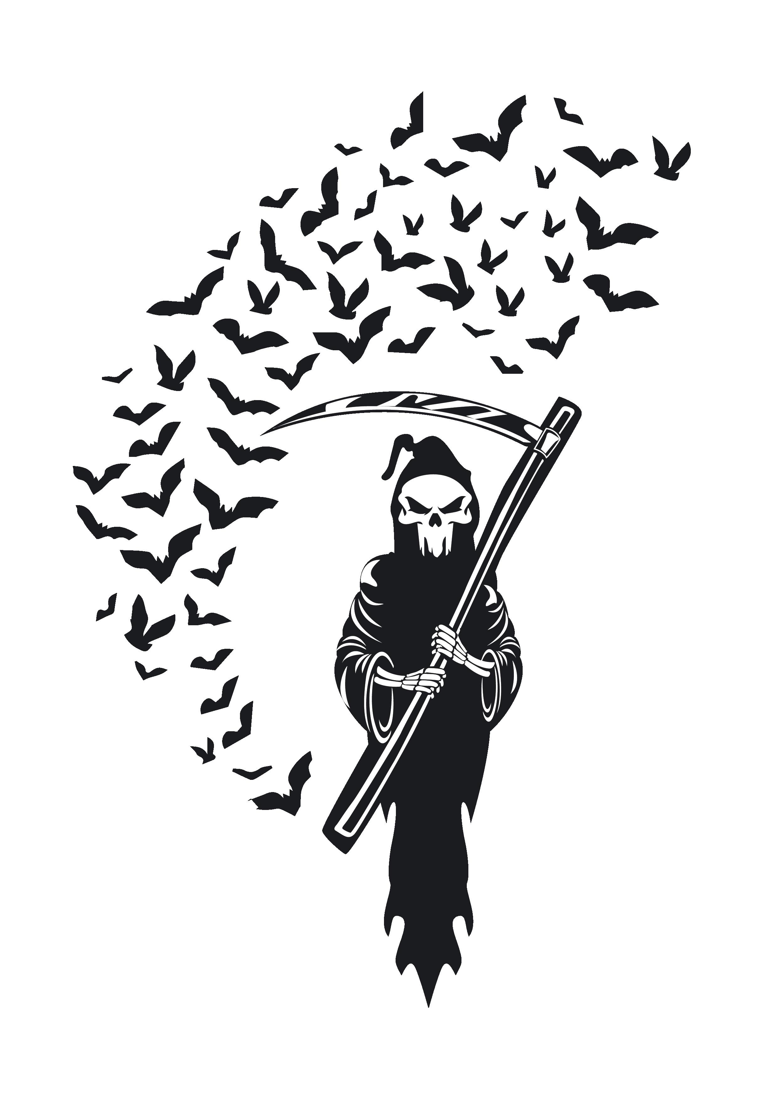 Bat Swarm And Skull Bat Swarm Skull Vector Bat Swarm Skull Clipart Svg Eps Dxf Clip Art