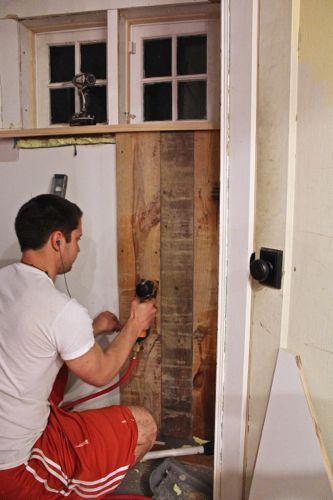 Sheathing being installed