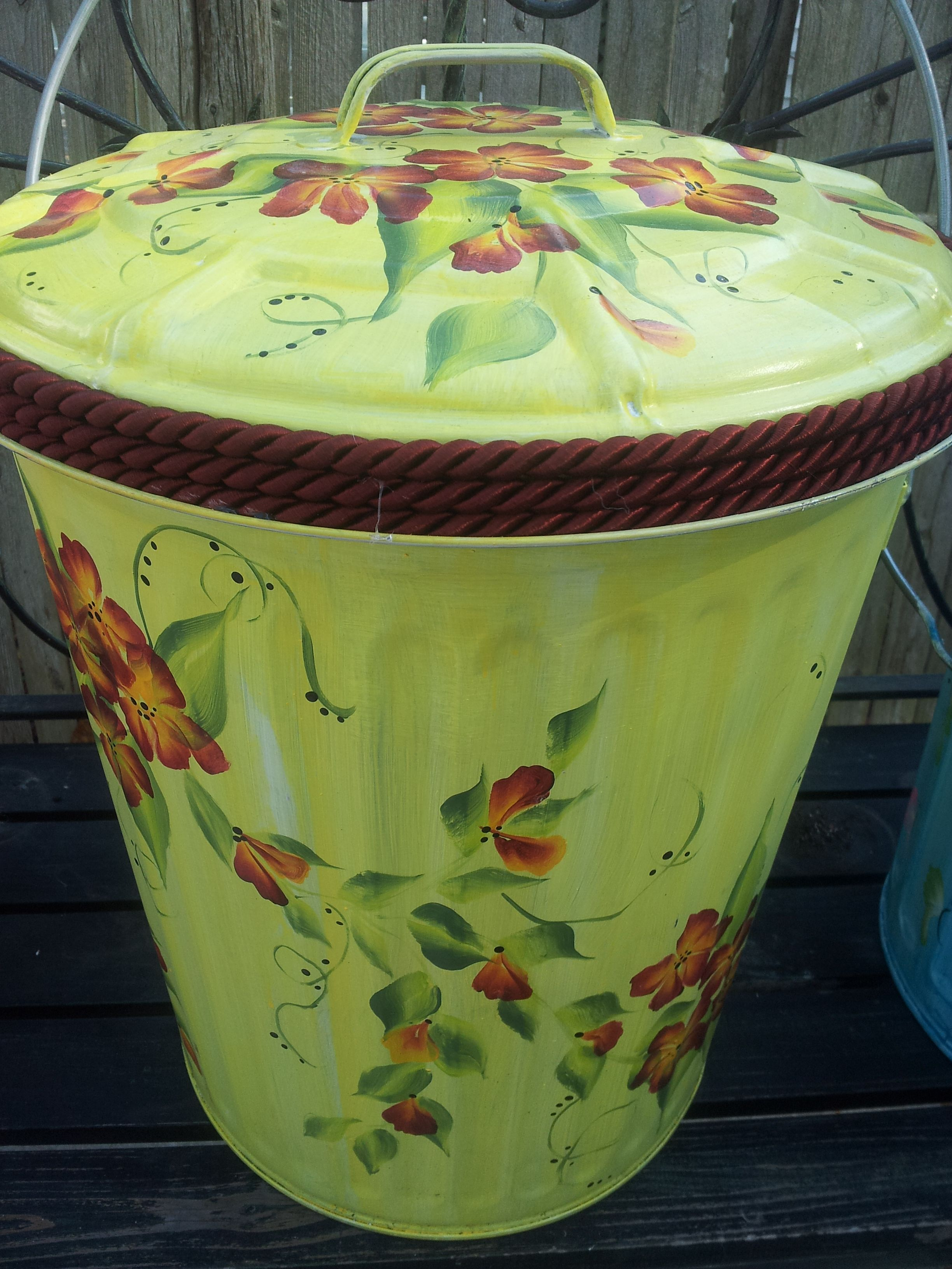 10 gallon galvanized garbage can | Hand Painted Cans, Pots