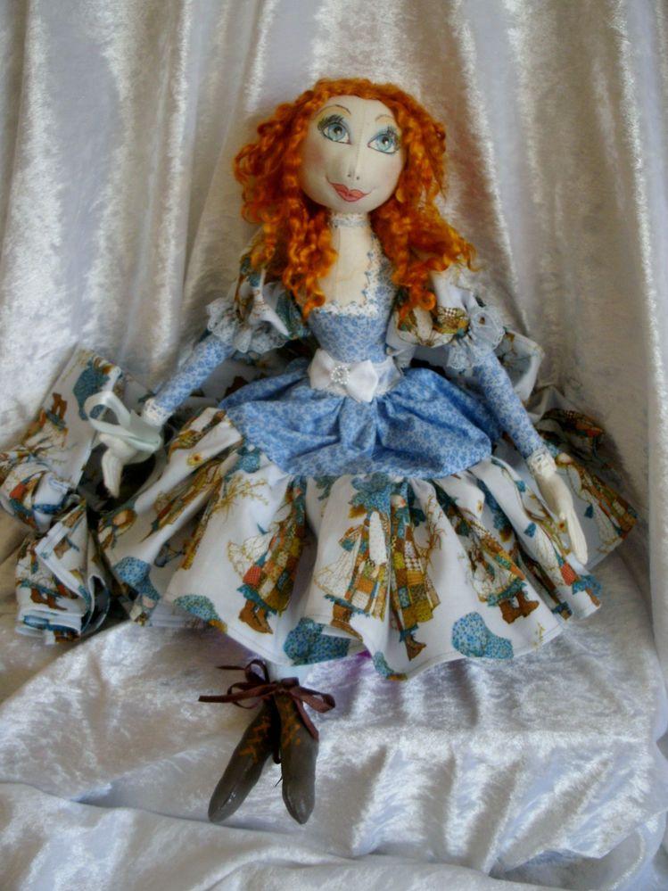 Handmade Fantasy Holly Hobby fabric cloth art boudoir doll OOAK bonnet & boots