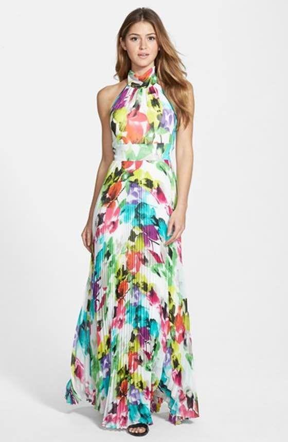 776303e95af Free shipping and returns on Eliza J Floral Print Halter Maxi Dress  (Regular   Petite) at Nordstrom.com. Artsy pleats create flattering shape  down the ...