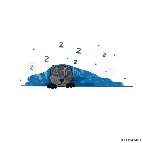 A Cute little gray kitten sleeps under a fur blue with dots blanket , #sponsored, #kitten, #sleeps, #Cute, #gray, #dots #Ad
