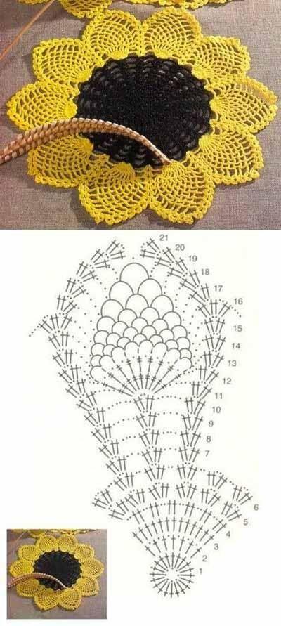 patron+crochet+flor+girasol.jpg (400×891) | receitas de crochê ...