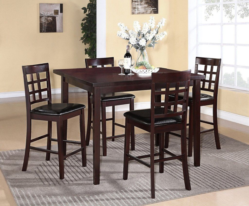 5Pc Espresso Finish Solid Wood Counter Height Dining Set  Dining Captivating Espresso Dining Room Table Sets Design Inspiration