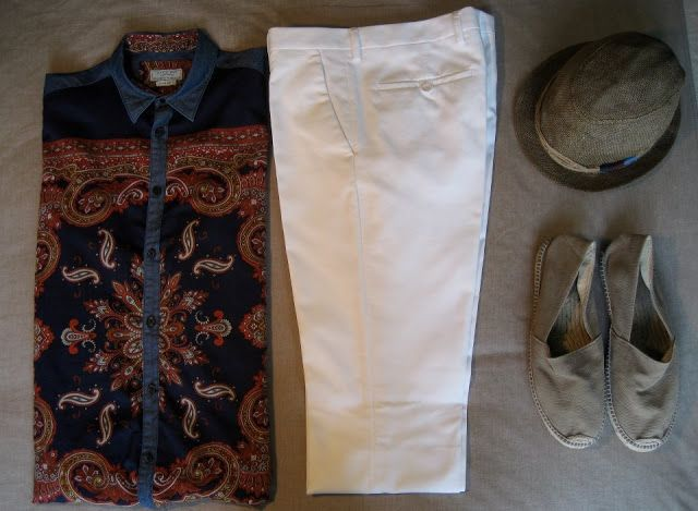 Contemporary dandy: Zara paisley shirt, Zara white pants, H hat, espadrillas. BLOG N. 5: MUST HAVE spring\summer 2013 ...FOR MAN!