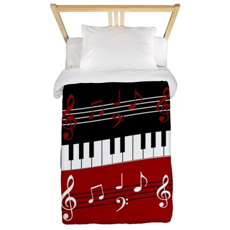 507ce56a5393 Stylish Piano keys and musical notes Twin Duvet on CafePress.com ...