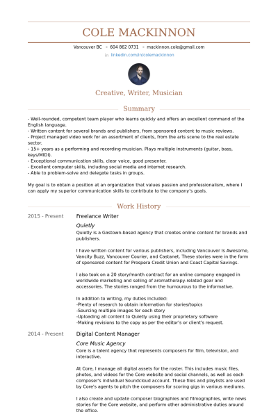 freelance writer resume example