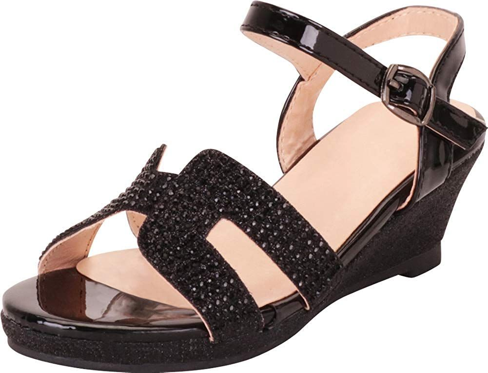 Cambridge Select Womens Strappy Crystal Rhinestone Low Wedge Slide Sandal