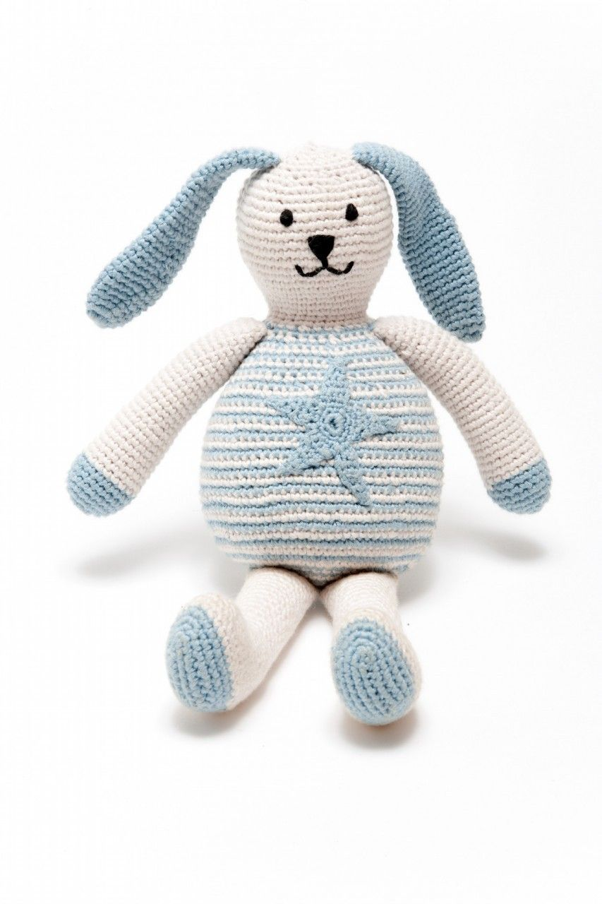 Fair trade organic bunny blue baby boy gifts bunny soft
