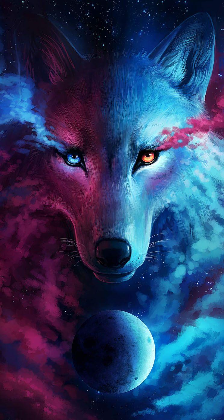 Wolf Galaxy Iphone Wallpaper Dyr Illustrasjon Dyr Og Kjaeledyr