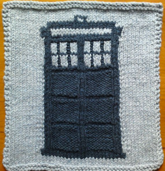 2-Color TARDIS Dishcloth PATTERN | I Can Make That - Knitting ...