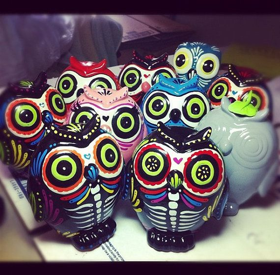 I found owls!! haha i know how much you love them Day of the dead owl MADE TO ORDER by Dulcecalaveritas on Etsy, $30.00