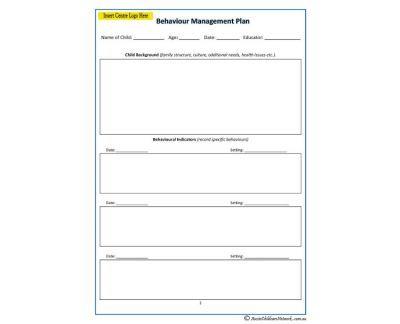 Behaviour Management Plan individual support plans Pinterest - management plan templates free