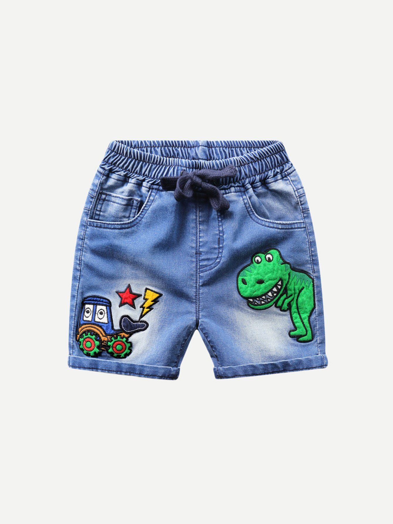 473ba3b6f Boys Cartoon Embroidery Drawstring Waist Pants | OCT 18 | Drawstring ...