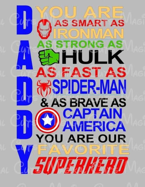 aac74777165ff Marvel Daddy SVG, Studio, EPS, and JPEG Digital Downloads | Holidays ...