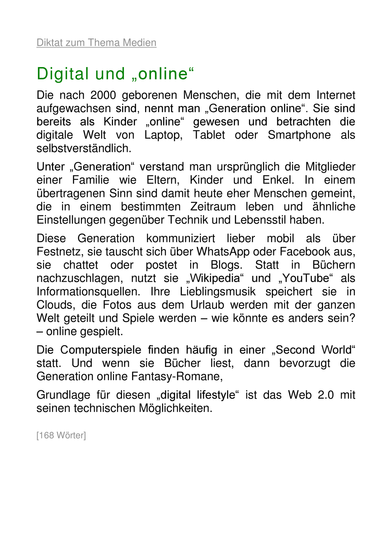 Diktat Zum Thema Medien 168 Worter Unterrichtsmaterial Im Fach Deutsch In 2020 Worter Medien Deutsch Unterricht