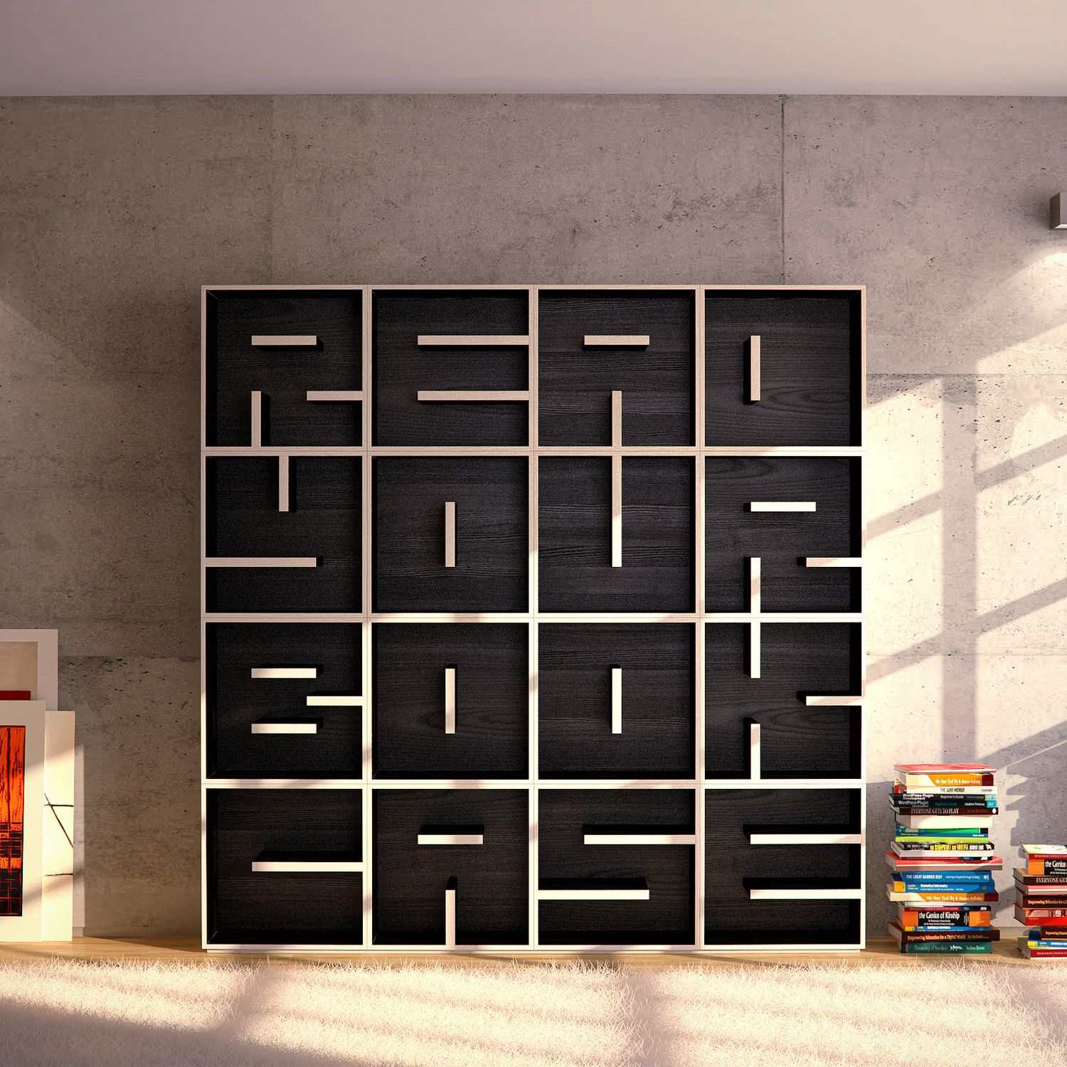 "Italian furniture and interior design company, Saporiti has come up with a clever and unique concept for this wooden bookshelf. By playing around with the placement of the shelves within each box, they were able to visibly form the phrase ""READ YOUR BOOKCASE."" Each individual shelf contains a different letter and can be stacked to form a complete word or stand freely on its own. 