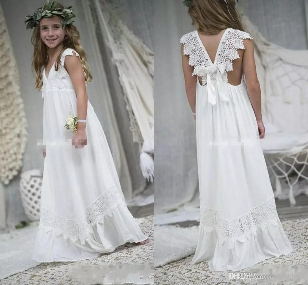 Cap Sleeves Boho Flower Girl Dresses For Weddings Cheap V