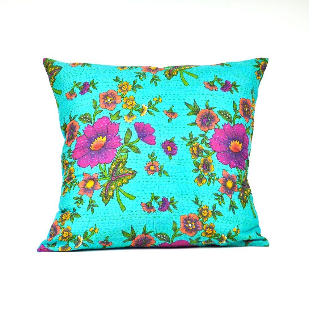 Kantha pillow cover floral florals pinterest pillows dream