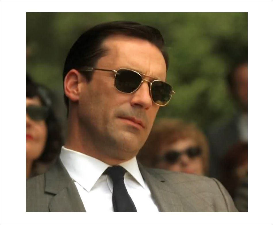 57d6abcff60 American Optics pilot sunglasses worn by Don Draper in Mad Men. They look  awesome and are affordable ( 40ish on Amazon)