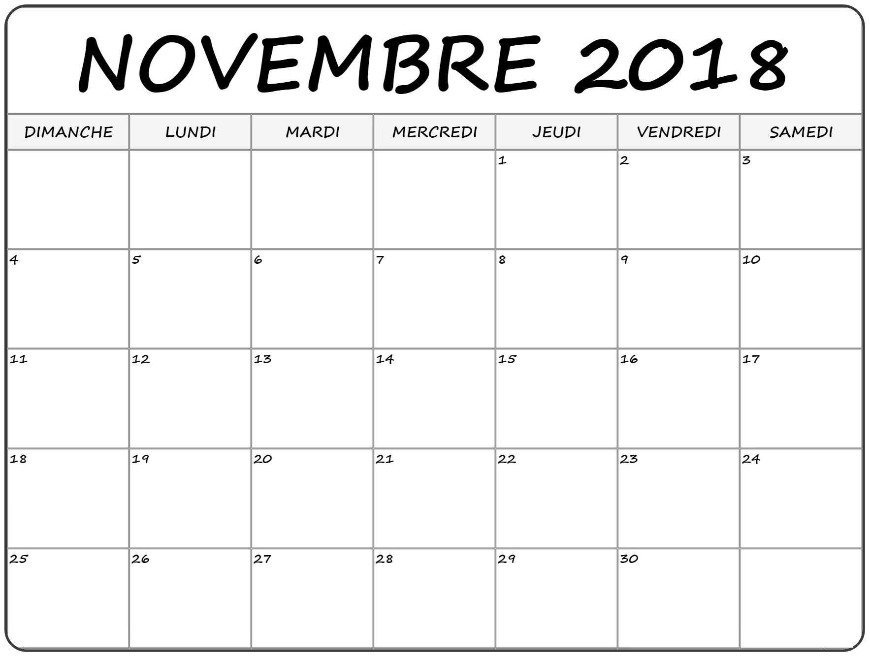 Calendrier Novembre 2020.Calendrier Novembre 2018 Excel Printable Blank Calendar