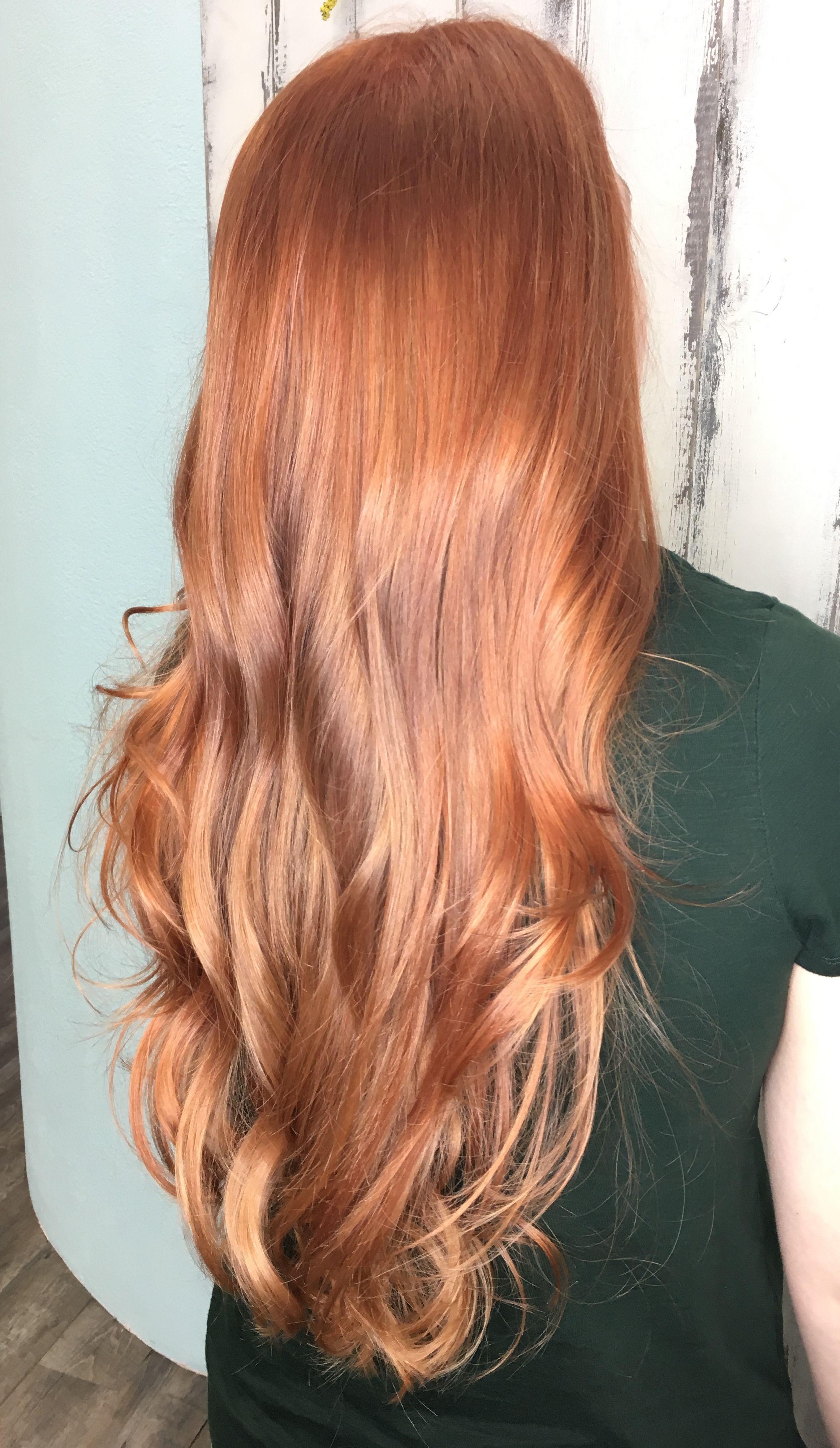 Copper Red Gold Blonde Balayage With Rosegold Copper Red Blonde Balayage Gold Golden Blo Red Blonde Hair Red Hair With Blonde Highlights Blonde Balayage