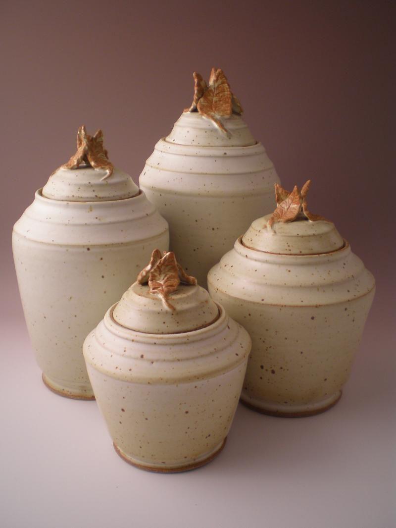 Set Of Four Pottery Jars Ceramic Jars Decorative Pottery