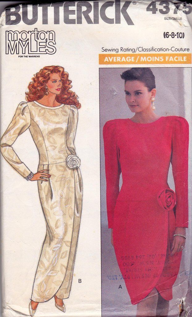 1980s Morton Myles for the Warrens dress pattern feat. Famke Janssen, Butterick 4375